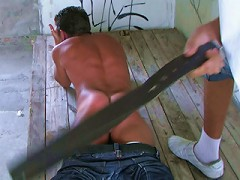 Raunchy tanned youngster enjoys merciless whipping