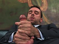 Stud in suit and tie gets fucked by butt fucking machines.