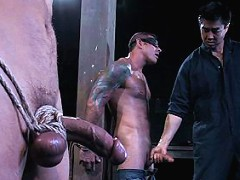Super Stud Derrek Diamond gets flogged and fucked in bondage for the first time.