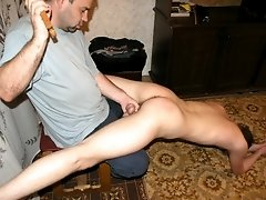 Blond twink gets ass-spanked properly