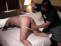 A lowly bear slave gets led to the bedroom where his ass is beaten and he sucks cock. Hairy slave sucks dick and is spanked